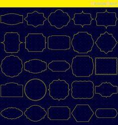 Yellow Classic Digital Frames, Basic Frames, Digital Clipart, Digital Download, Clipart Frame, Frames Clipart, Digital Labels  - 1 Zip folder