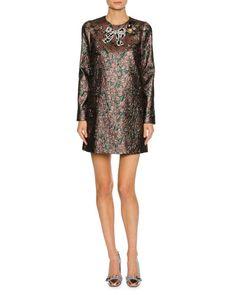 B3WDN Dolce & Gabbana Long-Sleeve Metallic Jacquard Cocktail Dress, Pink/Green