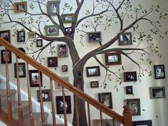 Ideas for family tree wall display hallways - Modern Family Tree Mural, Family Tree Photo, Family Trees, Family Photo Walls, Family Wall Art, Family Room, Display Family Photos, Family Pictures, Hang Pictures