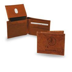 NFL Washington Redskins Leather Bi-Fold Wallet - Tan Leather Billfold Wallet