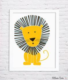 Lion Nursery Art Print by MonkieBirdie on Etsy