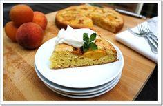 peach johhnycake, cake with, wild hive farm, corn flour, hudson valley fresh, sour cream