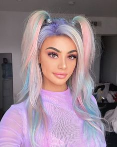 Elegant & Colorful Hair Highlights for Celebrity Girls Elegant & Colorful Hair Highlights for Celebrity Girls Gorgeous Hair Color highlights for stylish and young girls - Cute Hair Colors, Hair Dye Colors, Cool Hair Color, Beauté Blonde, Hair Color Highlights, Rainbow Hair Highlights, Aesthetic Hair, Aesthetic Pastel, Gorgeous Hair