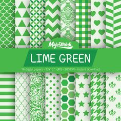 Digital Paper  LIME GREEN  with polkadot stripe by Majesthink