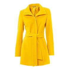 Veste en laine mélangée zippée avec ceinture ❤ liked on Polyvore featuring outerwear, vests, vest waistcoat and yellow vest