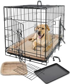 Pet Dog Cat Crate Kennel Cage & Bed Pad Cushion Warm Soft Cozy House Kit Playpen Folding Crate W/ Divider - 2015 Model, Super Easy to Assemble (X-Large Cage & B Big Dog Cage, Pet Cage, Cat Crate, Crate Bed, Dog Playpen Indoor, Large Dog Crate, Pet Kennels, Cheap Pets, Dog Cages