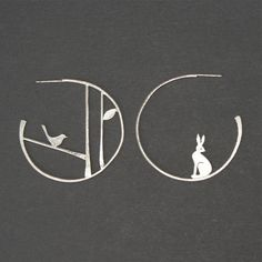 Edge of the woods statement earrings - hare and bird £59.95