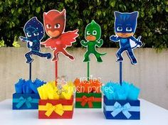 PJ Masks handcrafted wood centerpiece for birthday or special occasion Night Catboy Gekko Night Ninja Owelette Birthday centerpiece SET OF 4 Superhero Birthday Party, Birthday Box, 4th Birthday Parties, Pj Mask Party Decorations, Party Themes, Party Ideas, Pjmask Party, Festa Pj Masks, Birthday Centerpieces