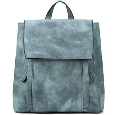 Yoins Green Backpack with Two Front Pockets (130 SAR) ❤ liked on Polyvore featuring bags, backpacks, grey, green backpack, gray backpack, leather daypack, grey backpack and green leather backpack