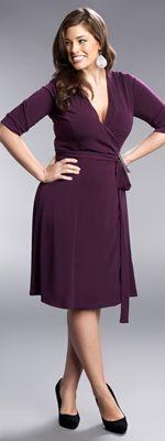 1940s Style Plus Size Plum Legacy Wrap Dress in Plus Sizes $74.00 #plussizecasualdresses