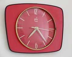French 1950-60s Atomic Age JAPY Bright Red Formica Wall Clock