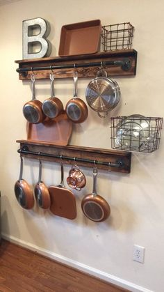 Rustic Kitchen Organization – Black Iron Pipe Pot Hanger… – Top Of The World Diy Kitchen Storage, Kitchen Organization, Pot Hanger Kitchen, New Kitchen, Kitchen Decor, Kitchen Ideas, Kitchen Wood, Decorating Kitchen, Kitchen Themes