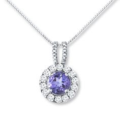 Amethyst/Diamond Necklace Lab-Created Sapphires Sterling Silver