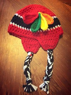 f644d45dc1a Chicago Blackhawks Crochet Earflap Hat Toque Baby Newborn Toddler Child