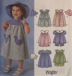 Girls Toddlers Dress Top Panties Hat Sewing Pattern UNCUT Sleeveless Puff Short Sleeve Simplicity 7189 Chicken Pockets 6 mo to 4 Years #49B by AdriennesAtticStore on Etsy