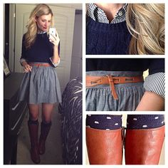 Collar tucked in - full chambray skirt + navy striped button down + navy cabled sweater