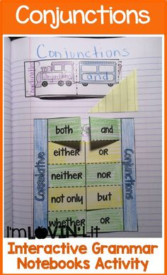 Conjunctions Interactive Notebook Activity, Foldable, Organizer, Lesson