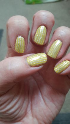 Cnd shellac - bicycle yellow  Lecente sand glitter stripes