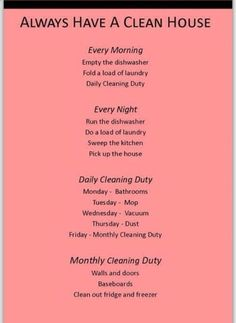 Daily Cleaning, House Cleaning Tips, Diy Cleaning Products, Cleaning Solutions, Spring Cleaning, Cleaning Hacks, Cleaning Schedules, Deep Cleaning, Cleaning Routines