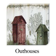 Outhouse Bathroom Decor | Curtain U0026 Bath Outlet   Out Houses Fabric Shower  Curtain
