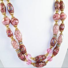Check out this item in my Etsy shop https://www.etsy.com/listing/265894390/venetian-art-glass-necklace-wedding-cake