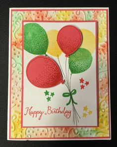 Stampin up Balloon celebration.  http://www.stampinup.com/ECweb/productdetails.aspx?productid=140675&dbwsdemoid=2140349 Stampin up Annual catalog 2016. Stampin up confetti embossing folder. http://www.stampinup.com/ECweb/productdetails.aspx?productid=140592&dbwsdemoid=2140349