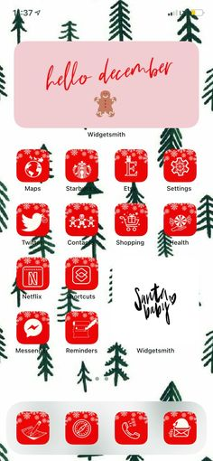 Holiday Iphone Wallpaper, Xmas Wallpaper, Funny Iphone Wallpaper, Iphone App Design, Iphone App Layout, Christmas Apps, Cute App, Iphone Icon, Christmas Aesthetic