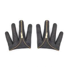 4B-Majesty Black-Women's Zip Up 4 Finger Gloves : Ceiba SF