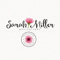 premade watercolor flower photography logo bespoke logo design logo stamp watercolour logo vintage boutique watermark logo