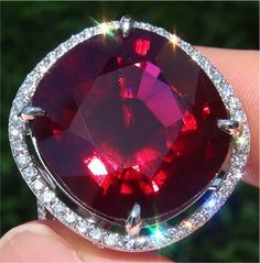 Natural VS Rubellite Tourmaline Diamond PLATINUM Vintage Ring