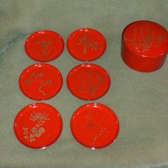 Vintage 7 Piece Japanese Red Laquer & Gold Coaster Set #Unbranded