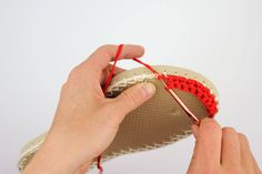 Learn how to make crochet espadrilles with flip flop soles in this free pattern and tutorial. Pair these stylish crochet sandals with a summer dress! Crochet Sandals, Crochet Shoes, Crochet Slippers, Christmas Knitting Patterns, Crochet Patterns, Crochet Designs, Espadrille Shoes, Espadrilles, Make And Do Crew