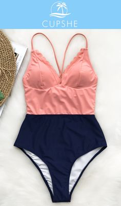 For your Spring beach trip, Cupshe Lucky Star One-piece Swimsuit with cute wavy edge and contrast colors will be a nice choice! Enjoy your beach holiday with beauty and comfort. No time to hesitate and check it now with free shipping!