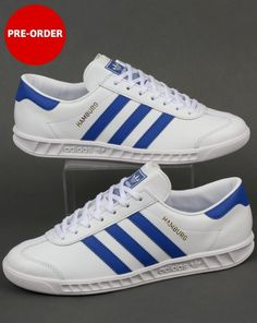 Adidas Hamburg Trainers White/Bold Blue,originals,mens,shoes,sneakers