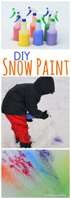 DIY snow paint is such an easy and inexpensive wintertime outdoor activity . This DIY snow paint is such an easy and inexpensive wintertime outdoor activity .This DIY snow paint is such an easy and inexpensive wintertime outdoor activity . Winter Outdoor Activities, Fun Winter Activities, Winter Crafts For Kids, Winter Fun, Craft Activities, Winter Time, Diy For Kids, Activities For Kindergarten, Outdoor Activities For Preschoolers
