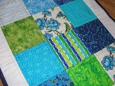 Summer Blue Green Quilted Table Runner by countrysewing4U on Etsy