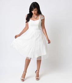 Unique Vintage White on White Swiss Dot Garden State Mesh Dress
