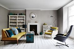 Shades of grey set the contemporary tone in this Bristol home, accented by tones of yellow and petrol blue that stand out against the distressed whitewashed floorboards Modern Georgian, Georgian Homes, Georgian Interiors, Georgian Era, Home Living Room, Living Room Designs, Living Room Decor, Style At Home, Living Room Inspiration