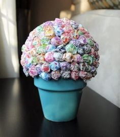 Image detail for -crafty, candy topiary tutorial: How to make a Lollipop Tree Lollipop Centerpiece, Lollipop Tree, Party Centerpieces, Lollipop Bouquet, Quinceanera Centerpieces, Lollipop Candy, Candy Topiary, Holidays Events, Deco