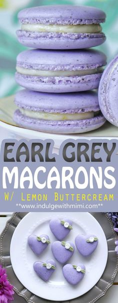 Earl Grey Macarons with Mouth-watering Lemon Swiss Buttercream (Heart Template) - Earl Grey INFUSED Macarons with a Mouth-watering Lemon Buttercream Earl Grey INFUSED Macarons with - Köstliche Desserts, Delicious Desserts, Dessert Recipes, Yummy Food, Food Deserts, Plated Desserts, Healthy Food, Frosting Recipes, Swiss Buttercream
