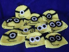 MInion hat favor or . Adopt a minion . Minion Hats, Minions, Boy Birthday, Birthday Ideas, Headgear, Crocheting, Knit Crochet, Favors, Crochet Patterns