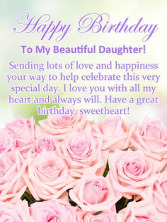 Pretty Pink Roses Happy Birthday Card For Daughter Sending Your A With
