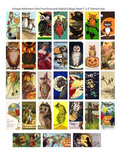 One Blank Dream: Free Vintage Halloween Domino Digital Collage Sheet Halloween Owl, Vintage Halloween, Halloween Images, Happy Halloween, Free Collage, Digital Collage, Fall Paper Crafts, Paper Crafting, Stickers