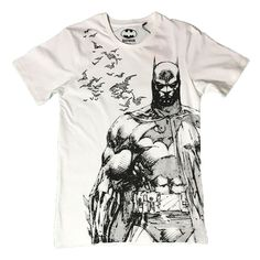DC Comics Batman Ink Sketch Graphic White T-Shirt