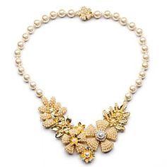 lyxiga pärla blomma guldpläterade halsband (1 st)