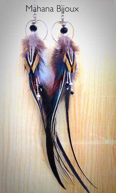 """Boucles d'oreilles """"Giuletta"""" plumes naturelles : Boucles d'oreille par mahana-bijoux"""