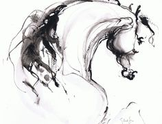Malika Elise Genest Arts and Chevaux Abstract Horse Painting, Bull Painting, Painted Horses, Horse Sketch, Brush Drawing, Horse Artwork, Most Beautiful Horses, Horse Drawings, Equine Art