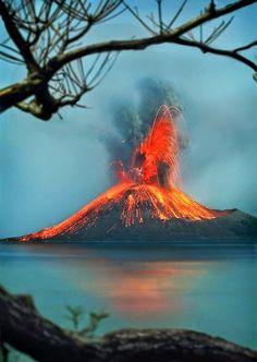 Krakatoa volcano Eruption, Indonesia