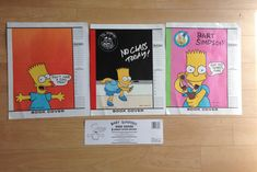 Set of 3 1990 Bart Simpson Book Covers Protective Coated 13 1/4 x 22 Great for any Simpsons collector Check out some of our other awesome vintage items for sale at Thehighwaythrifters.etsy.com Find us on Instagram, Facebook, and Twitter for exclusive sale codes! .....