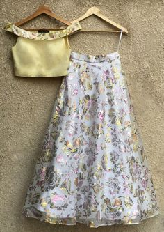 Yellow Blouse With Printed White Skirt-Shrena Hirawat-Fabilicious Fashion Indian Fashion Dresses, Indian Gowns Dresses, Indian Designer Outfits, Fashion Outfits, Kids Lehenga Choli, Lehenga Blouse, Lehnga Dress, Lehenga Designs, Indian Wedding Outfits